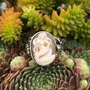 Mermaid Cameo Poison Sterling Silver Ring 6.5